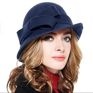 Accessories - COPY - Bellady Wool Cloche Bucket with Bow Accent…
